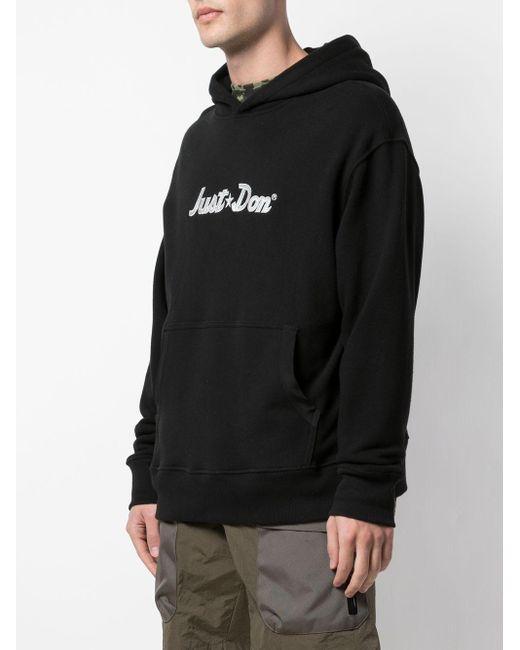 メンズ Just Don ロゴ オーバーサイズパーカー Black