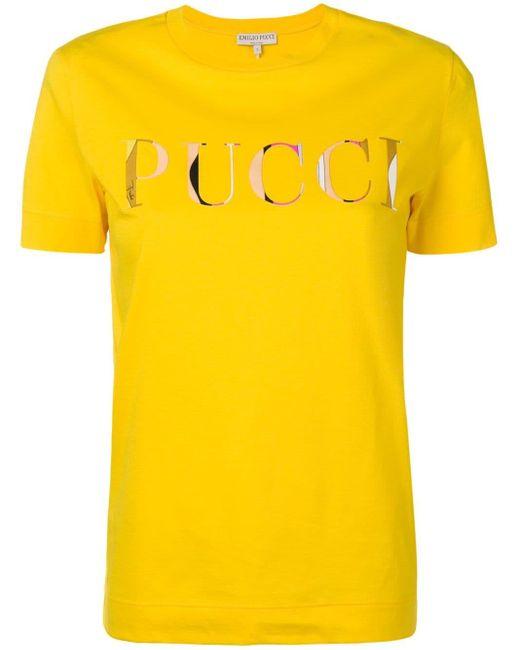 Emilio Pucci ロゴプリント Tシャツ Yellow