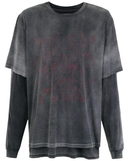 À La Garçonne Camiseta doble À LA GARÇONNE x HERING de mujer de color gris sDVSM