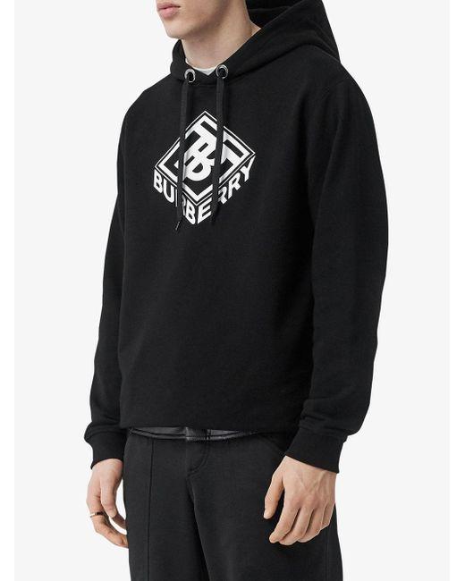 Толстовка С Капюшоном И Графичным Логотипом Burberry для него, цвет: Black