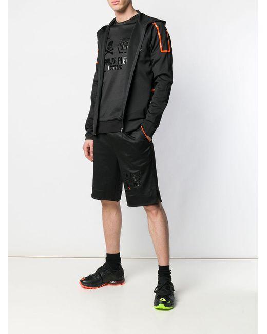 Short de sport à logo verni Philipp Plein pour homme en coloris Black