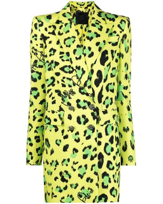Строгое Пальто С Леопардовым Принтом Philipp Plein, цвет: Green