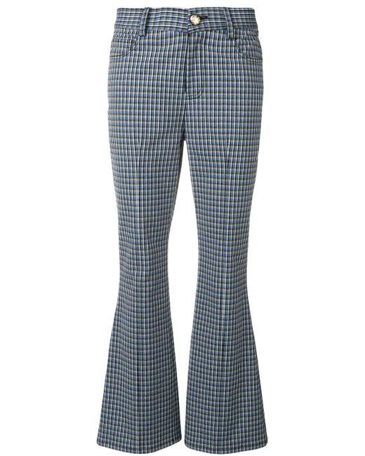 10 Crosby Derek Lam Pantalones acampanados con motivo de cuadros de mujer de color azul