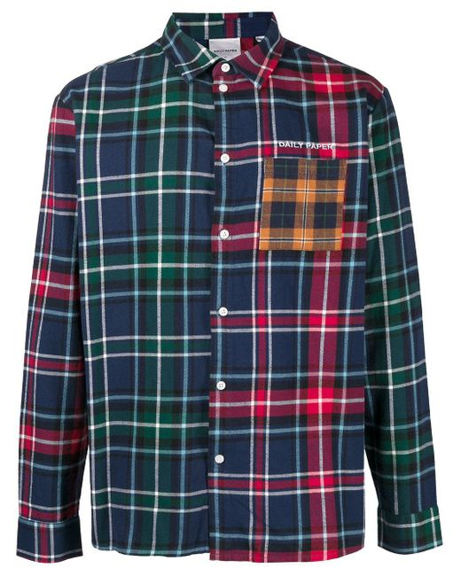 メンズ Daily Paper パッチワーク チェックシャツ Blue