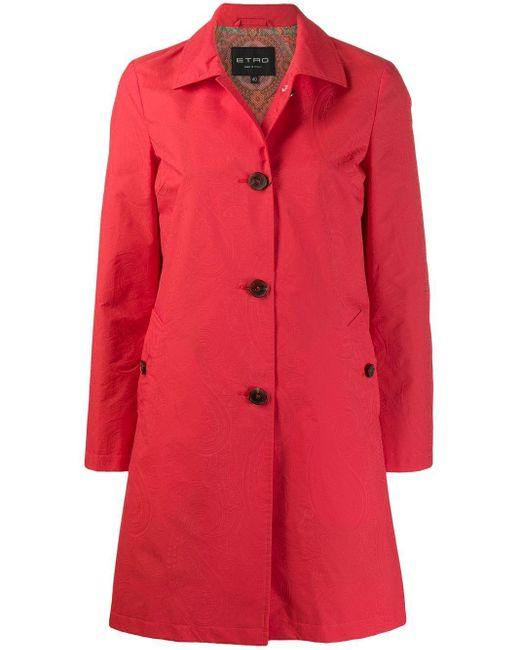 Single-breasted fitted coat Etro en coloris Red