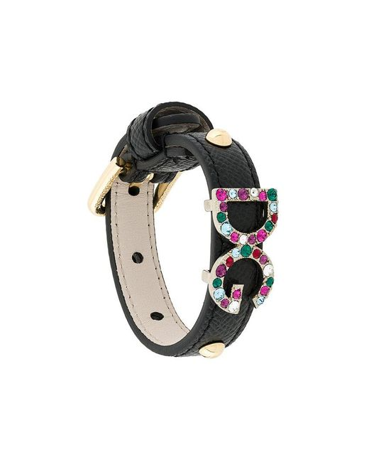 Dolce & Gabbana | Black Dg Crystal Detail Bracelet | Lyst
