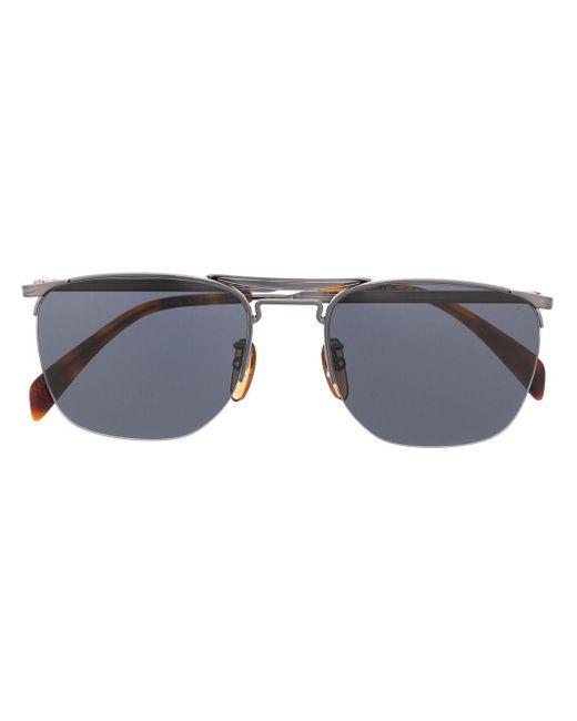 Eyewear by David Beckham Metallic Aviator Half-frame Sunglasses