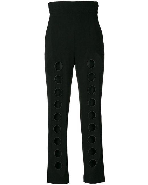 Sara Battaglia - Black Cut Out Detail Trousers - Lyst