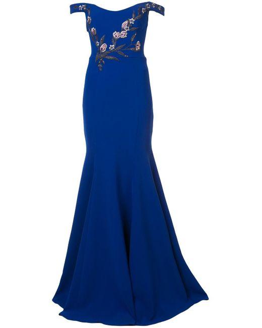 Marchesa notte フローラル イブニングドレス Blue