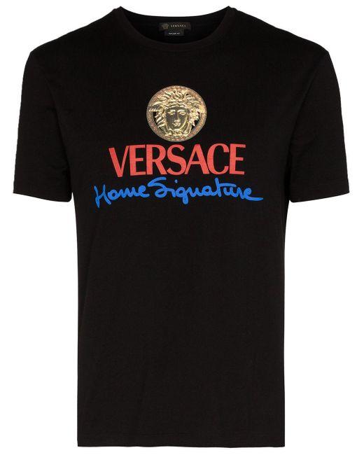メンズ Versace プリント Tシャツ Black