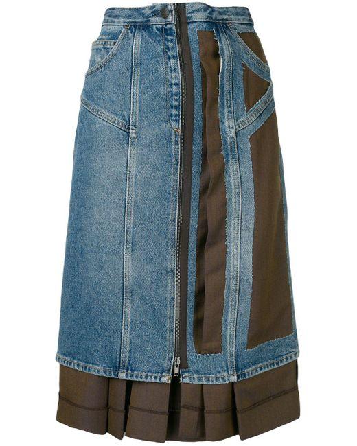 Maison Margiela アシンメトリー コントラスト スカート Blue