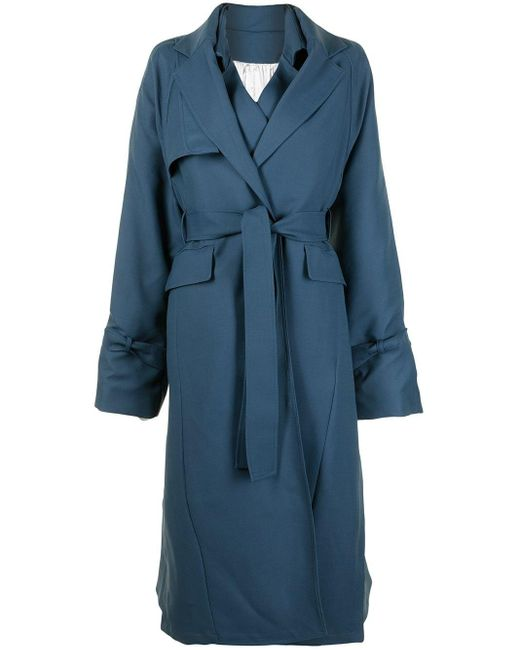 Peter Do Blue Layered-detail Belted Trench Coat