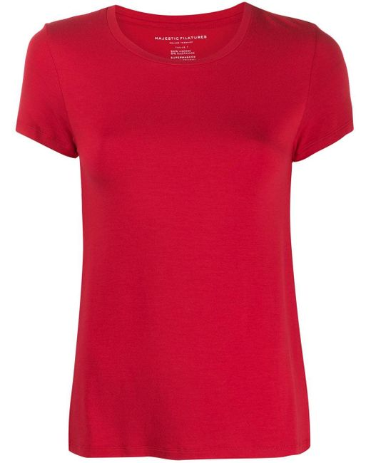Majestic Filatures ラウンドネック Tシャツ Red
