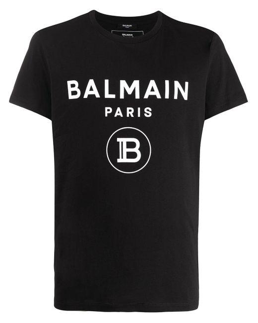 メンズ Balmain ブラック ベルベット ロゴ T シャツ Black