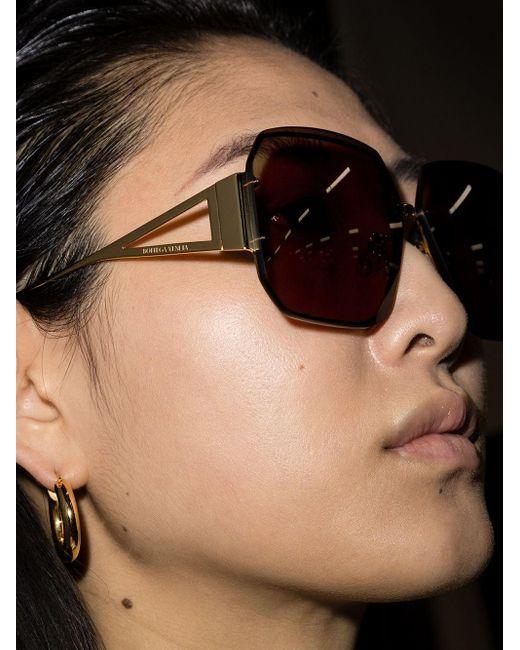 Солнцезащитные Очки В Квадратной Оправе Bottega Veneta, цвет: Brown