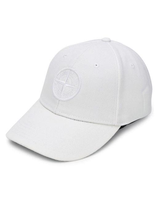 Casquette à logo brodé Stone Island pour homme en coloris White