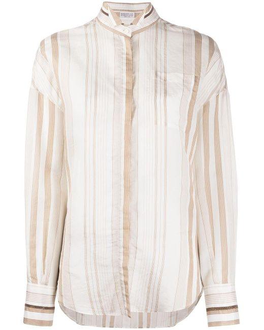 Полосатая Рубашка Brunello Cucinelli, цвет: White