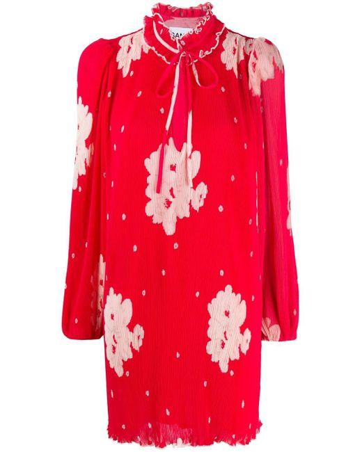 Ganni フローラル ドレス Red