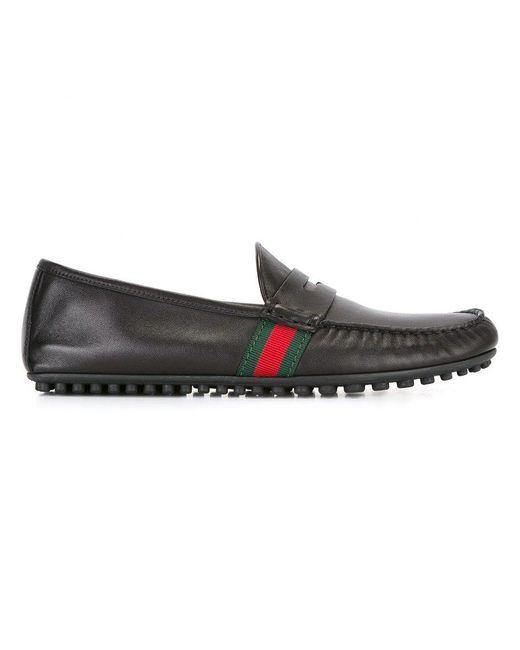 Gucci - Black Web Horsebit Driving Loafers for Men - Lyst