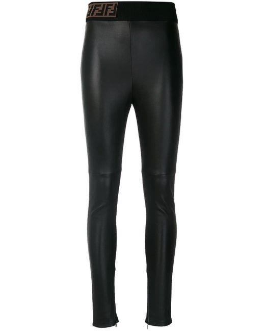 Байкерские Легинсы Скинни Fendi, цвет: Black