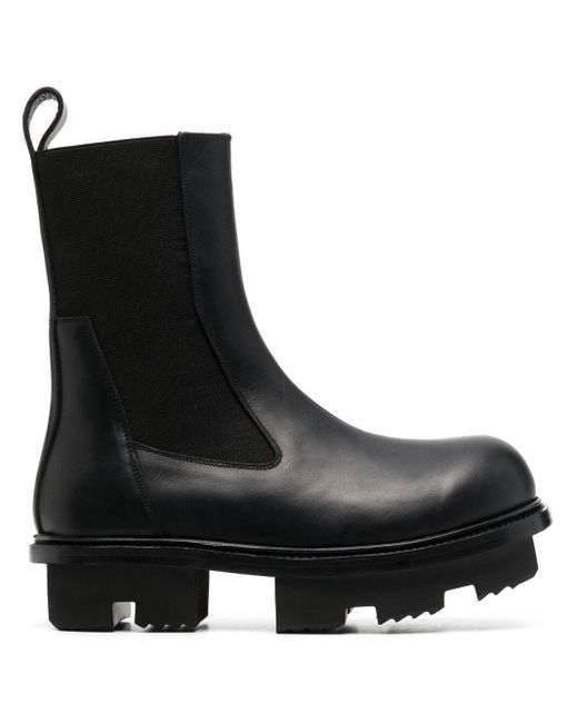 Rick Owens Black Chunky Leather Boots