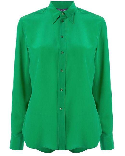 Ralph Lauren Collection ポインテッドカラー シルクシャツ Green