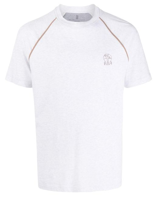 T-shirt a girocollo di Brunello Cucinelli in Gray da Uomo