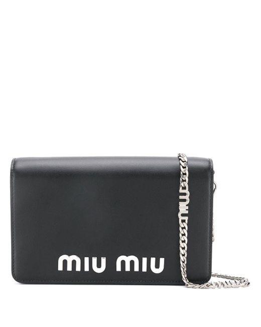 Miu Miu ロゴ クロスボディバッグ Black