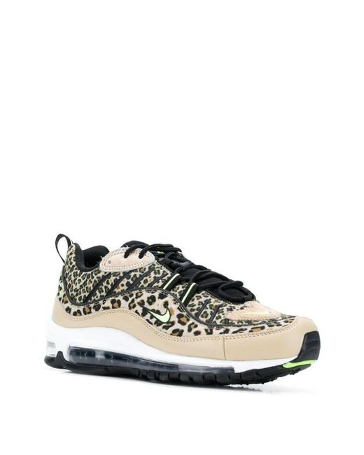 Nike Leather Air Max 98 Leopard Print Sneakers in Brown