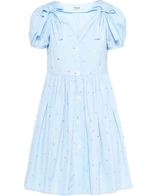 Miu Miu ビジュー ドレス Blue