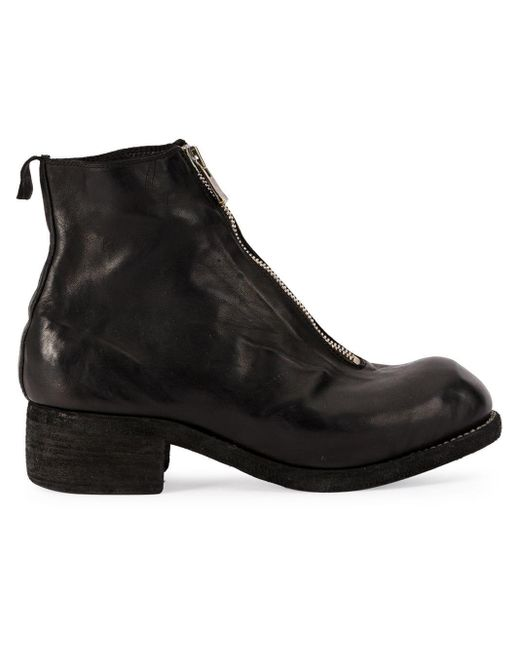 Front zip biker boots Guidi en coloris Black
