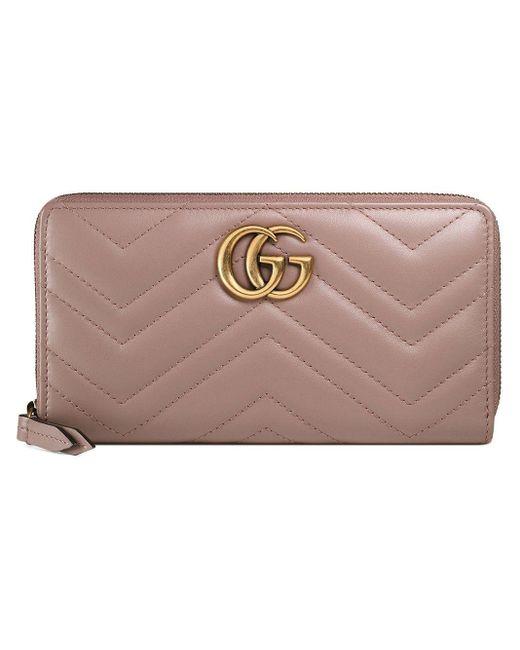 Кошелек GG Marmont С Круговой Молнией Gucci, цвет: Pink
