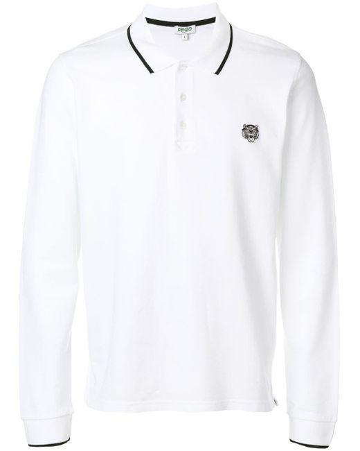 メンズ KENZO 刺繍アップリケ 長袖ポロシャツ White