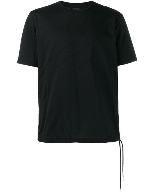 メンズ DIESEL ドローストリングヘム Tシャツ Black