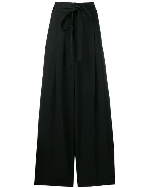 Rochas Pantalones anchos de talle alto de mujer de color negro