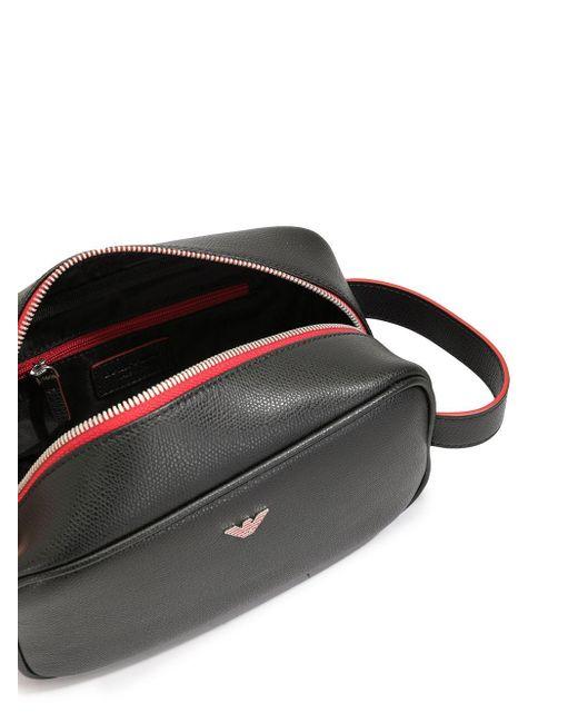 メンズ Emporio Armani ロゴ トラベルポーチ Black