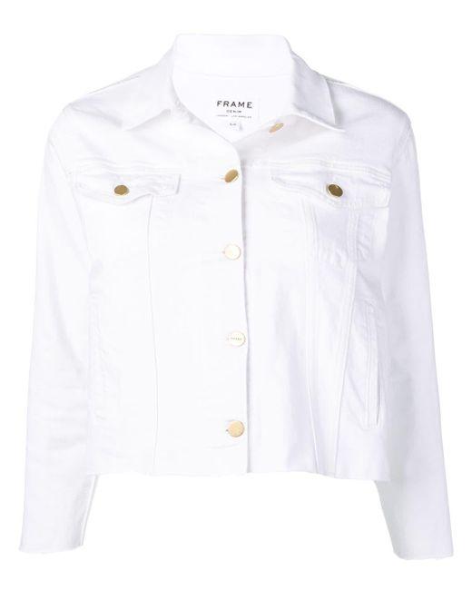 FRAME ダメージ クロップドジャケット White