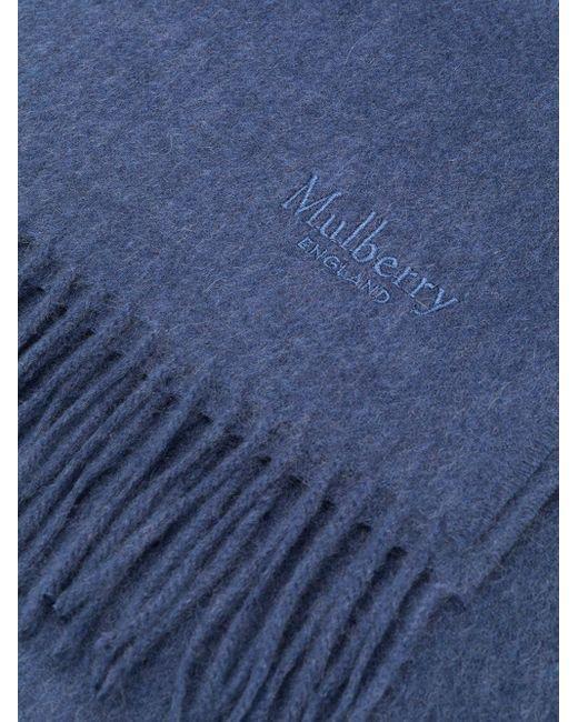 メンズ Mulberry フリンジ スカーフ Blue