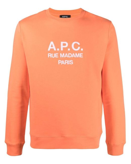 A.P.C. Orange Logo Print Sweatshirt for men