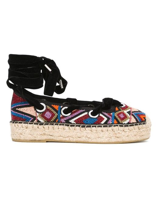 Ash | Black Beaded Lace-up Espadrilles | Lyst