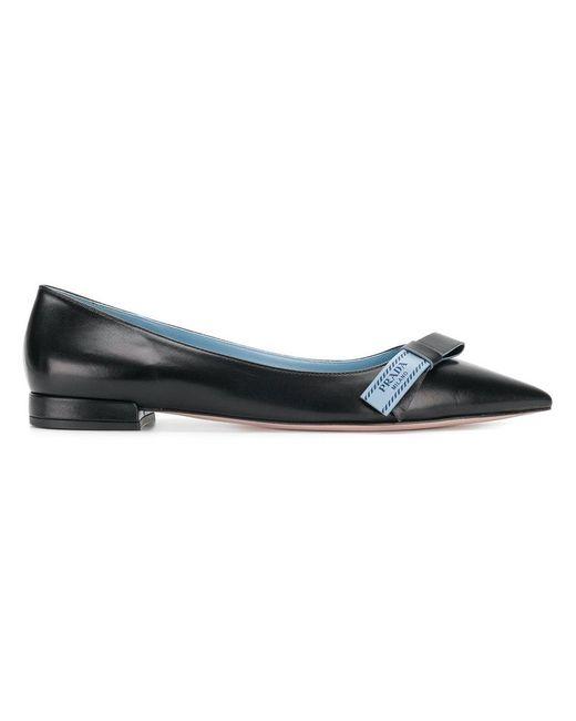 Prada - Black Pointed Ballerina Shoes - Lyst