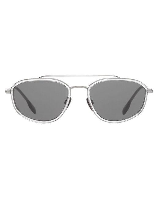 メンズ Burberry Geometric Navigator サングラス Gray