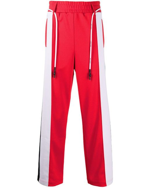 メンズ Palm Angels テックジージャージートラックパンツ Red