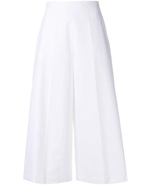 Delpozo - White Poplin Culottes - Lyst