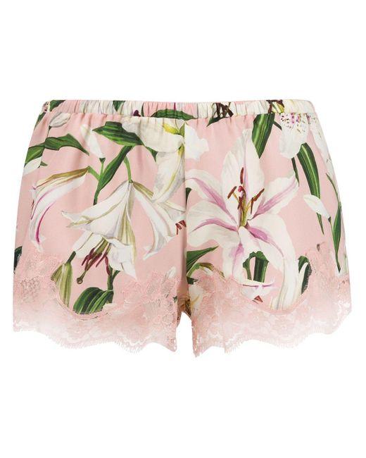 Dolce & Gabbana Floral-printed Pyjama Shorts Pink