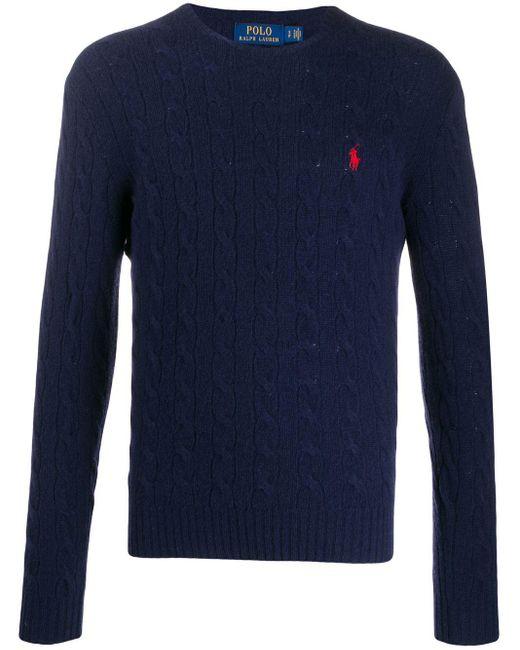 メンズ Polo Ralph Lauren ケーブルニット セーター Blue