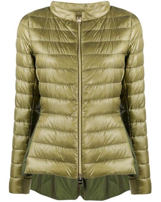 Стеганая Куртка-пуховик С Высоким Воротником Herno, цвет: Green