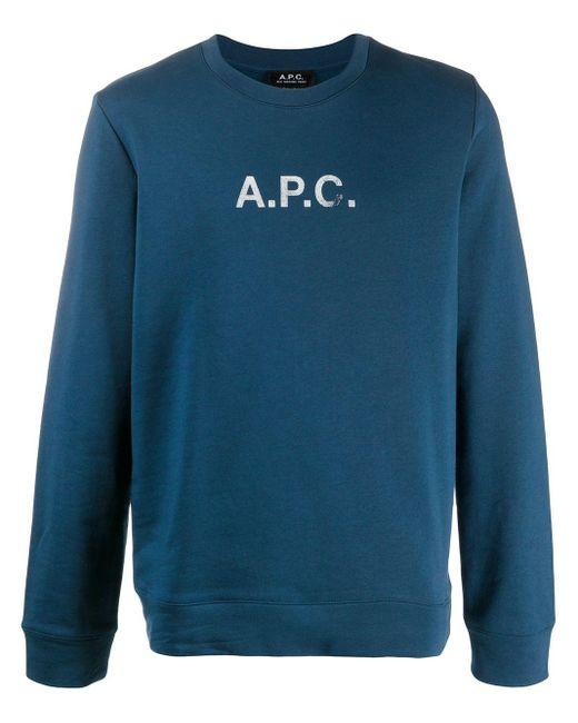 メンズ A.P.C. ロゴ プルオーバー Blue