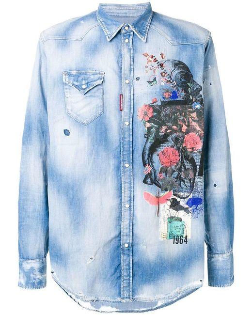 af300dd5f7 DSquared² - Blue Printed Denim Shirt for Men - Lyst ...