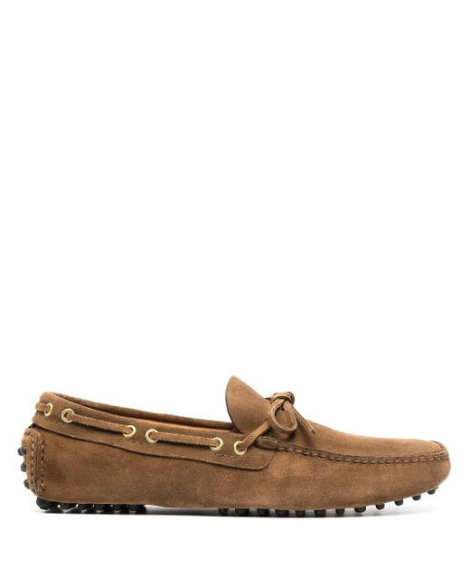 Car Shoe Brown Lace-detailed Driving Shoes for men